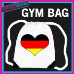 GERMANY HEART FLAG HEART LOVE GYM DRAWSTRING WHITE GYMSAC BAG